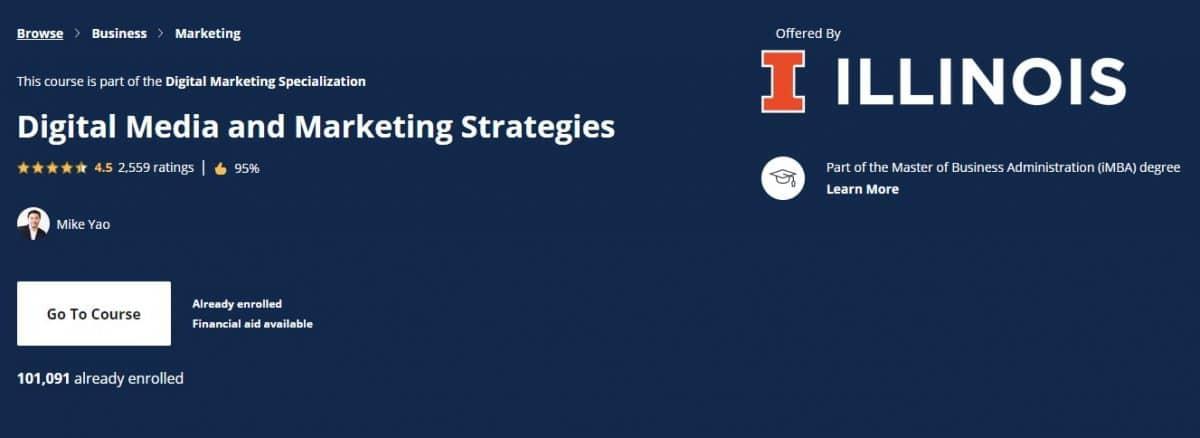 Μάθημα Digital Marketing, Courserra